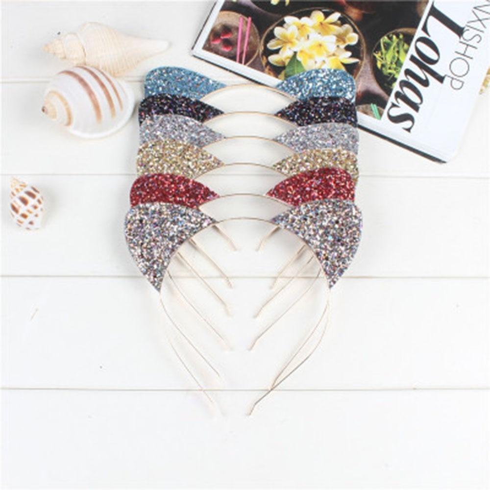 Cute Shiny Sequins Cat Ears Headband For Girl Cat Ears Hairband Kid Hair Accessories For Women Cartoon Headband