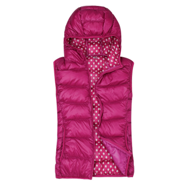 Vest Winter Women Short Black Down Jacket Sleeveless Vests Chalecos Mujer Sin Mangas Female Hooded Womens Vests WXF134 S S S