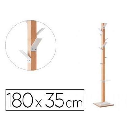 WOOD COAT RACK PAPERFLOW HAS 8 HANGERS WITH UMBRELLA STAND WHITE Height 180 Cm