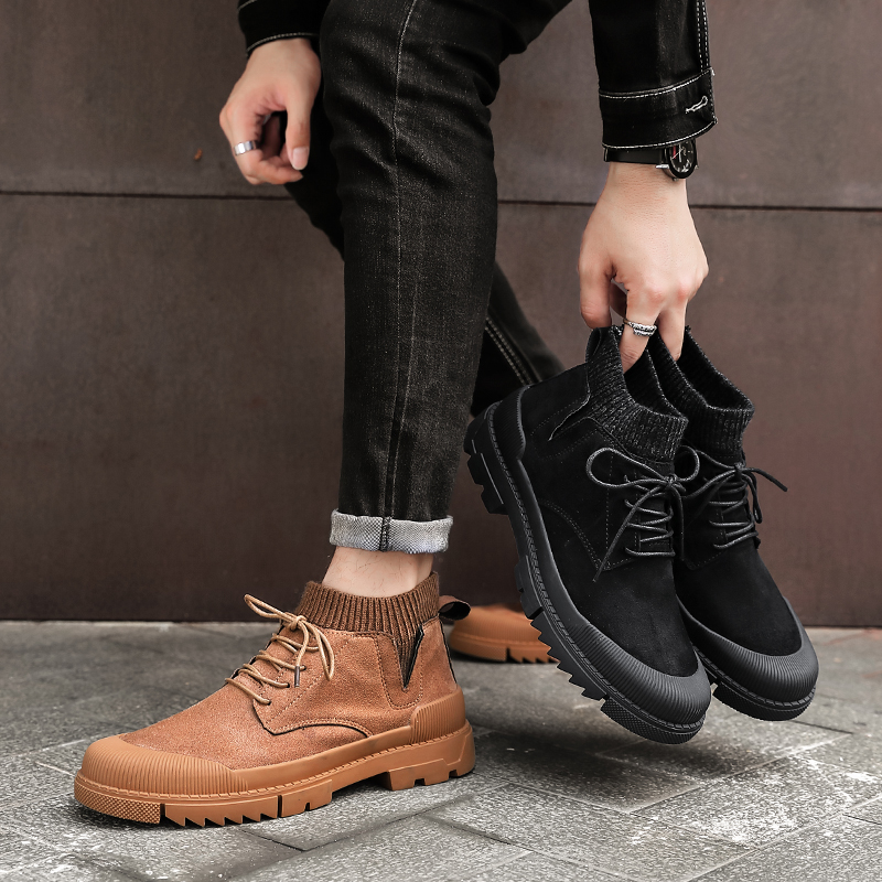 New Warm Men Boots Fashion Leather Snow Boots Handmade Plush Ankle Boots Lace Up Cow Suede Boots Sock Casual Boots Vintage Shoes in Work Safety Boots from Shoes