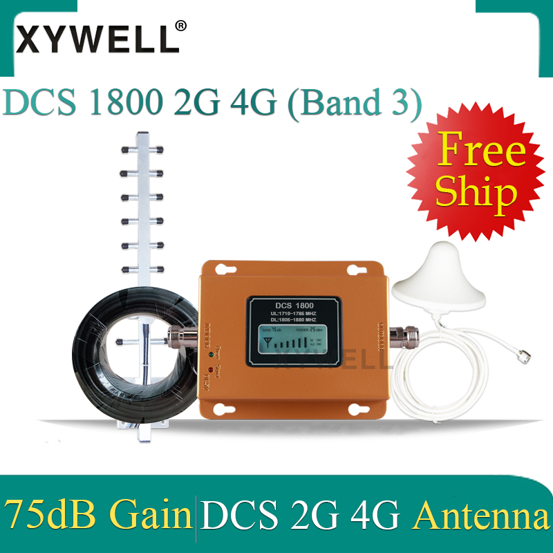 75dB LTE 1800 4g Signal Booster Gsm Signal Booster Repeater DCS 1800Mhz Cellular GSM 1800 Cell Phone Repeater Yagi 4g Antenna