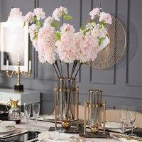 Luxurious 42cm Flower Vase Gold Column Stand Metal Glass Vase Wedding Centerpiece Marble Flower Vase For Event Party Decoration