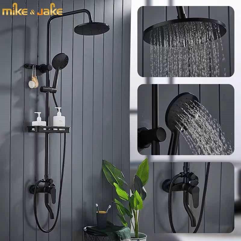 Luxury Matte Black Shower Set Rainfall Shower Hot And Cold Bathtub Shower Mixer Set Bath Shower Bidet Faucet (RUSSIS CDEK SHIP)