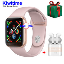 KIWITIME IWO 9 Smart Watch Series 4 44mm with GPS Heart Rate Monitor Smartwatch for iOS iPhone Xiaomi Android Phone Headset Gift(China)