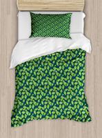 Botanical Duvet Cover Set Bicolour Nature Pattern with Repeating Jasmine Bush Leaves Print Decorative 2 Piece Bedding Set -