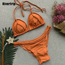 Rivertrip Ruched Bikini Halter Swimsuit Sexy Solid Swimwear Women Push Up Bathing Suit Beach Wear Orange Micro Bikini 2019 Mujer swallow gird ruched bikini swimsuit