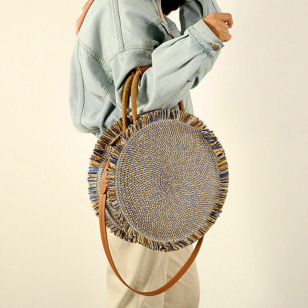 Women Fashion Boho Woven Handbag Tote Shoulder Bags Summer Beach Casual Rattan Straw Wicker Circle Bag Retro
