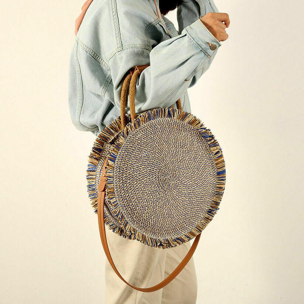 Women Fashion Boho Woven Handbag Tote Shoulder Bags Summer Beach Casual Rattan Straw Wicker Circle Bag Retro