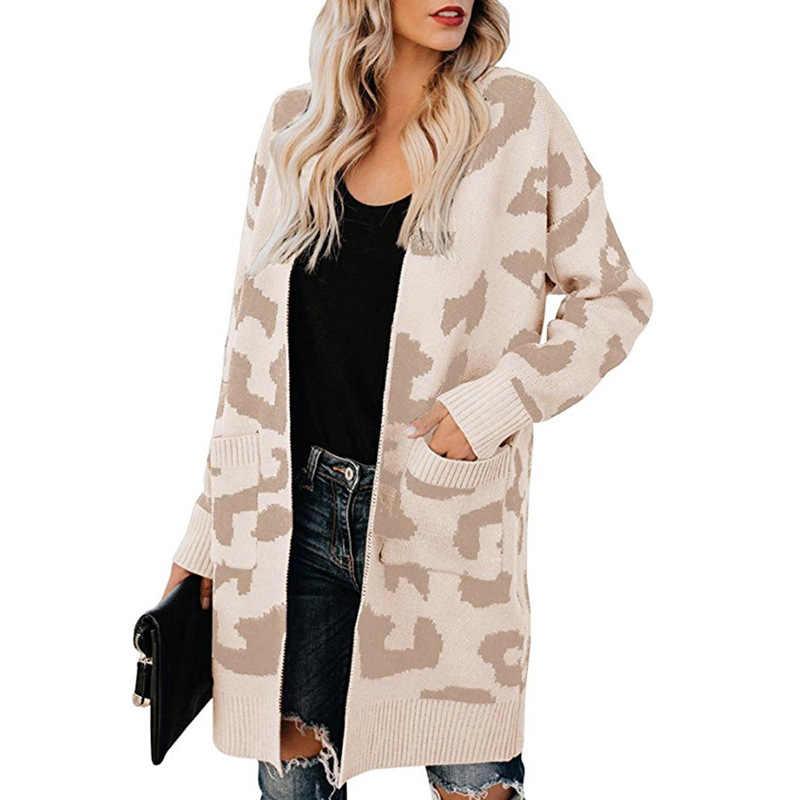 Kazak kadın hırka 2019 uzun çift cep leopar sonbahar ve kış yeni avrupa ve amerikan hırka vestidos MMY77080