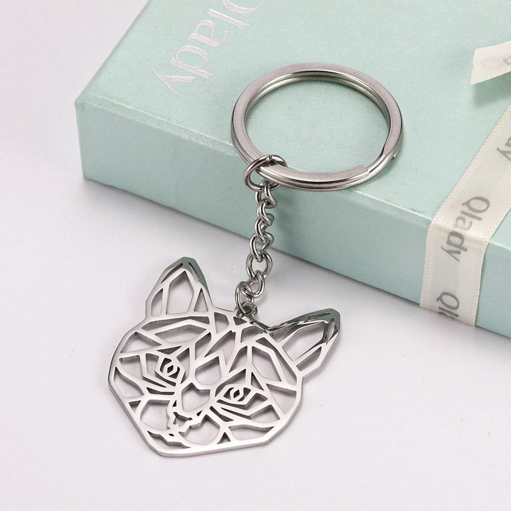 My Shape Key Ring Cat Animal Stainless Steel Jewelry Keyring Pet Keychain Cut Out Hollow Keyholder Animals Women  Men Pendent