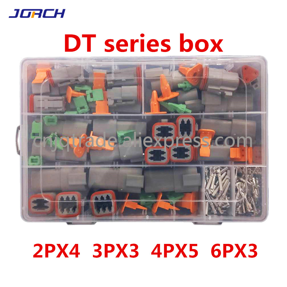 250pcs Deutsch DT Series Waterproof Wire Connector Kit DT06-2/3/4/6S DT04-2/3/4/6P Automotive Sealed Plug With Pins Box