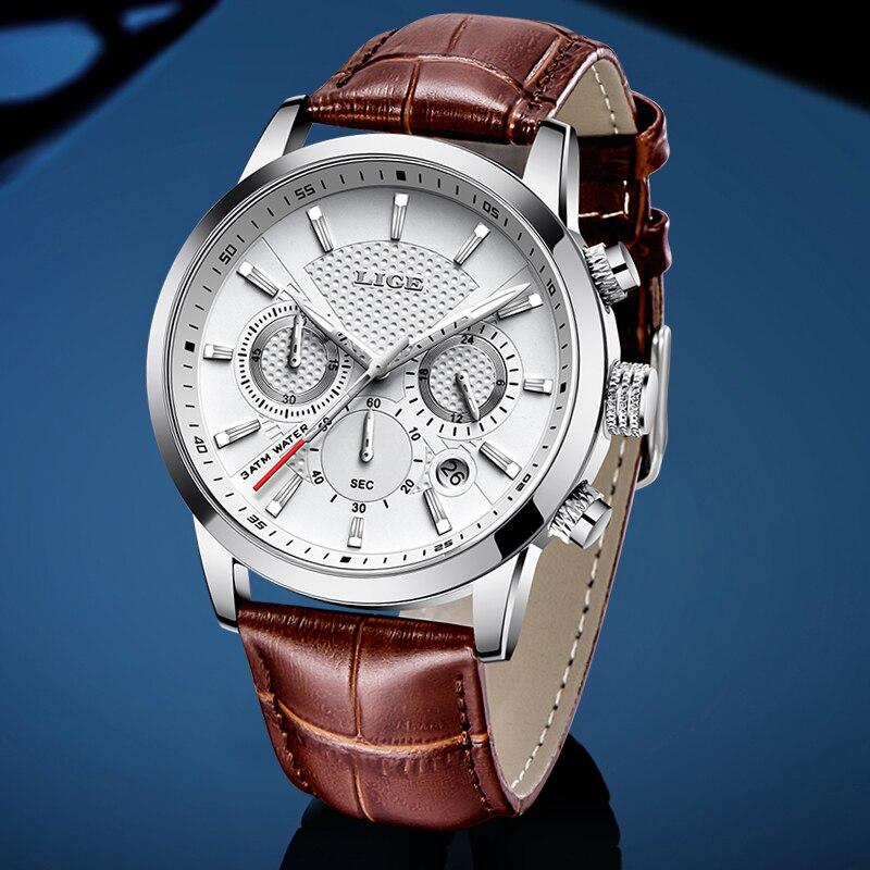 LIGE 2020 New Watch Men Fashion Sport Quartz Clock Mens Watches Brand Luxury Leather Military Waterproof Watch Relogio Masculino(China)