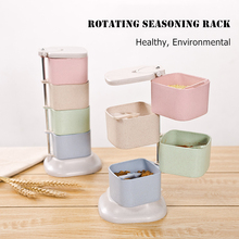 Rotate Seasoning Box Nordic Spice Jars Four Grid With Spoons Healthy Wheat Straw Condiment Storage Kitchen Rotary Rack
