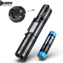 LED Tactical Flashlight Wuben USB Rechargeable Torch 18650 Battery Light Waterproof IPX8 L50 Mini Flash Light for Camp Hunting
