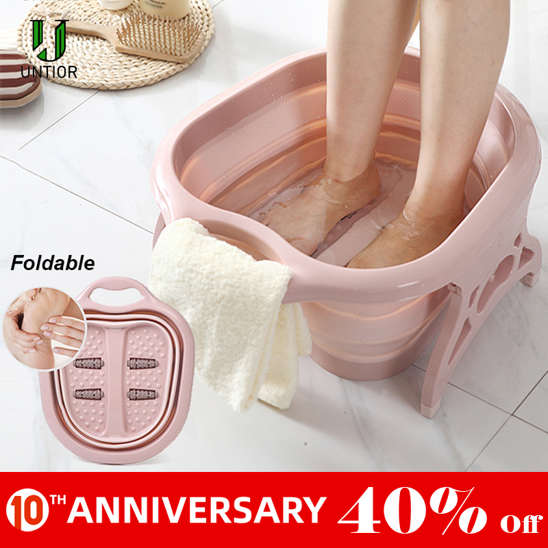 Foldable Footbath Plain Foaming Massage Bucket Plastic Foot Bath Basin Large Heightening Footbath Fording Barrel Reduce Pressure