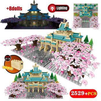 2529PCS City Street View Tree House Flower Model Building Blocks New Cherry Blossom Season Architecture Bricks Toys for Girls
