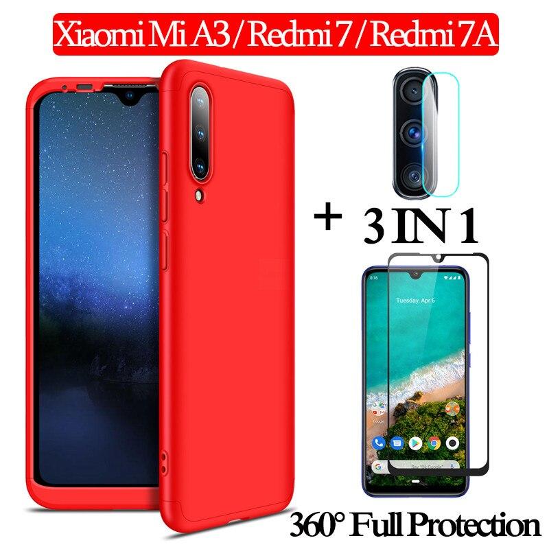 1-3 kits Glass + 360 Armor Case xiaomi mia3 Full Protection Case Redmi 7A mia 3 xiaomi Plastic Hard Case Cover xiaomi mi a3(China)