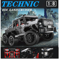 Teachnic set RC MOC 2425 G63AMG 6X6 LAND CRUISER SUV car model bricks cool black super racing cars LE J901 building blocks toys