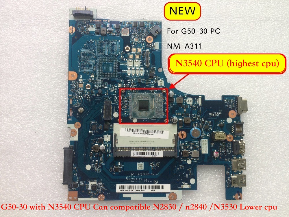NEW ACLU9 ACLU0 <font><b>NM</b></font>-<font><b>A311</b></font> Notebook Mainboard for Lenovo G50-30 PC Motherboard image