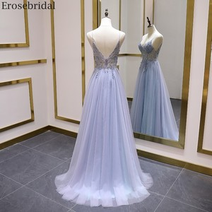Image 2 - Erosebridal Sexy Illusion Long Prom Dress 2020 Luxury Beads A Line Long Formal Women Evening Gown Party Dress Front Split V Neck