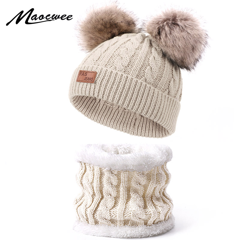 Children Hat And Scarf Set Winter Solid Skullies Beanies With Double Faux Fur Pompom High Quality Knitted Hat Ring Scarf Cap Set