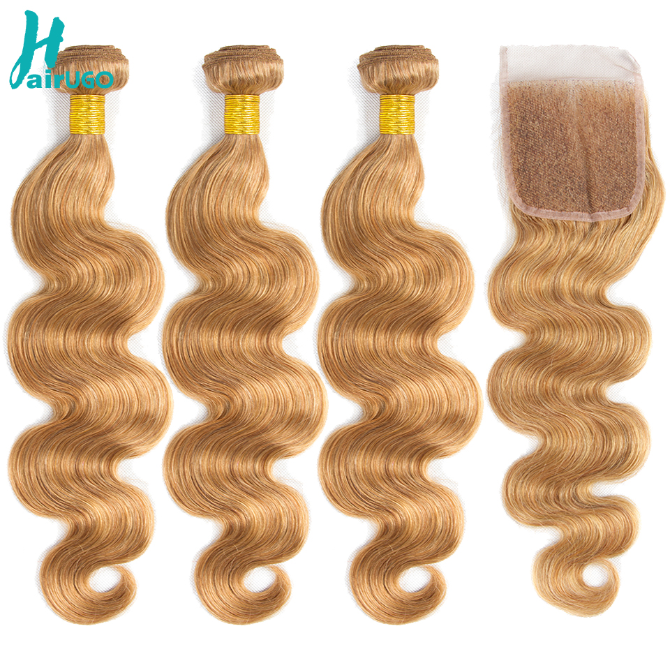 HairUGo Hair Pre-Colored Peruvian Body Wave Bundles Non-Remy  Blonde 4Bundles With Closure  Human Hair #27 Color Hair Extensions