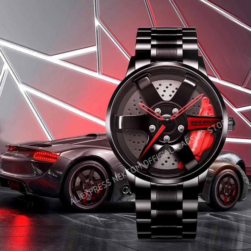 NEKTOM Rim Watch Hub Custom Design Sports Car Rim Sports Watch Waterproof Creative 2020 Male Watch Mens Wheel Wristwatch Clock