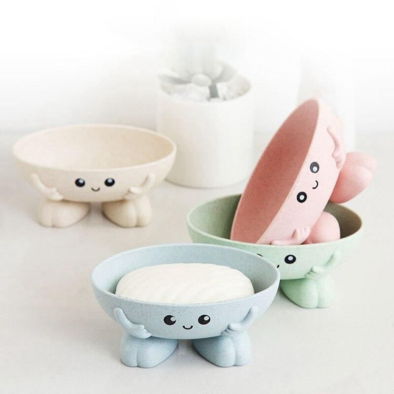 Cute Cartoon Soap Box Creative 3D Drain Holder Bathroom Storage For Children