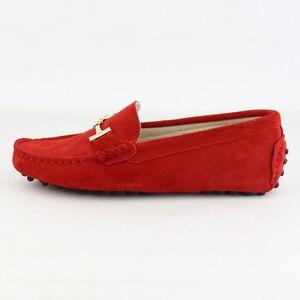 Image 2 - נעלי אישה 2020 עור אמיתי נשים מזדמנים נעליים שטוחות להחליק על נשים נעלי דירות רך מוקסינים גברת נהיגה נעליים