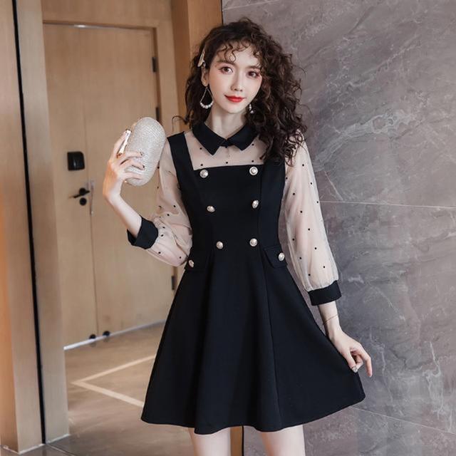 2021 spring and summer new dress Korean lapel French retro Hepburn little black dress mesh stitching slim slimming dress ins hot 5