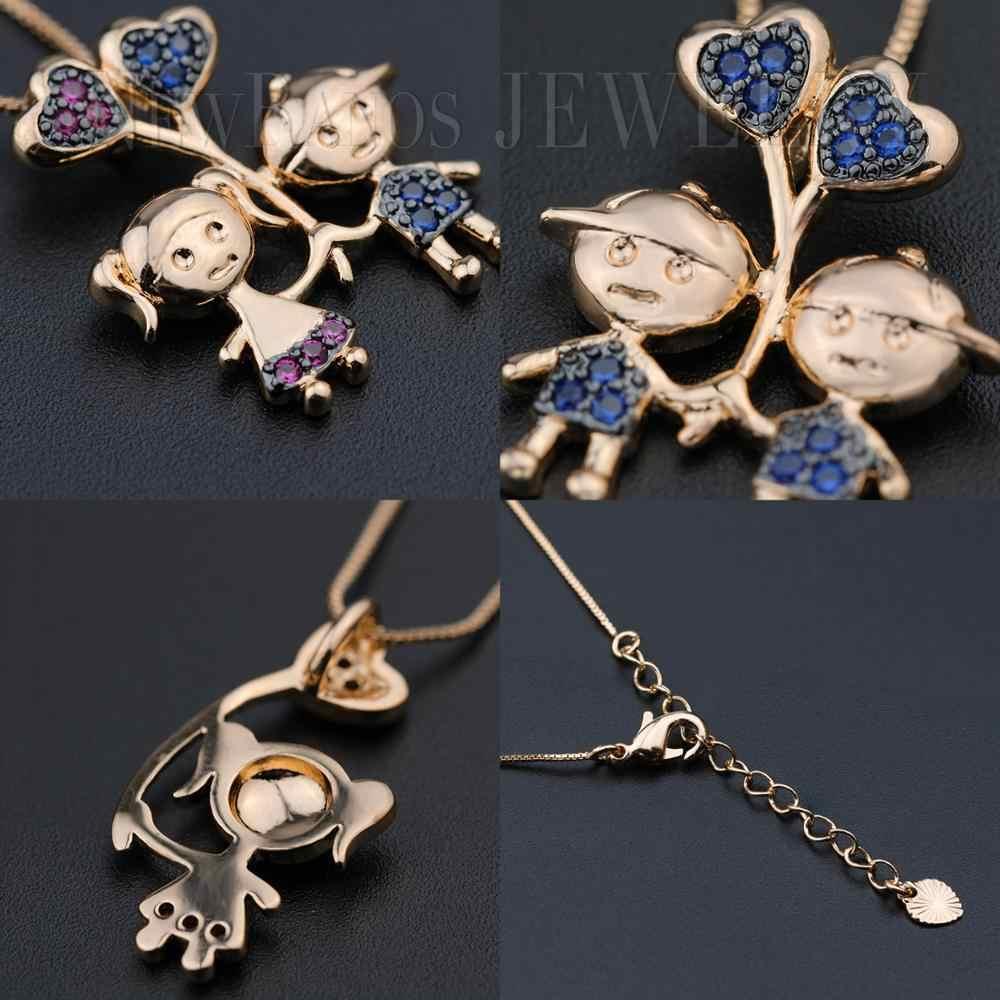 Милая Подвеска для мальчика, Очаровательное ожерелье с кубическим цирконием, семейное сердце для мамы, ожерелье, подарок матери, ювелирное изделие PHF001252