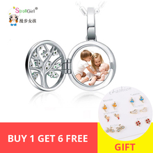 Strollgirl Engraved Unique Family Tree Of Life Photo Locket Necklaces 925 Sterling Silver Custom & Pendants Jewelry