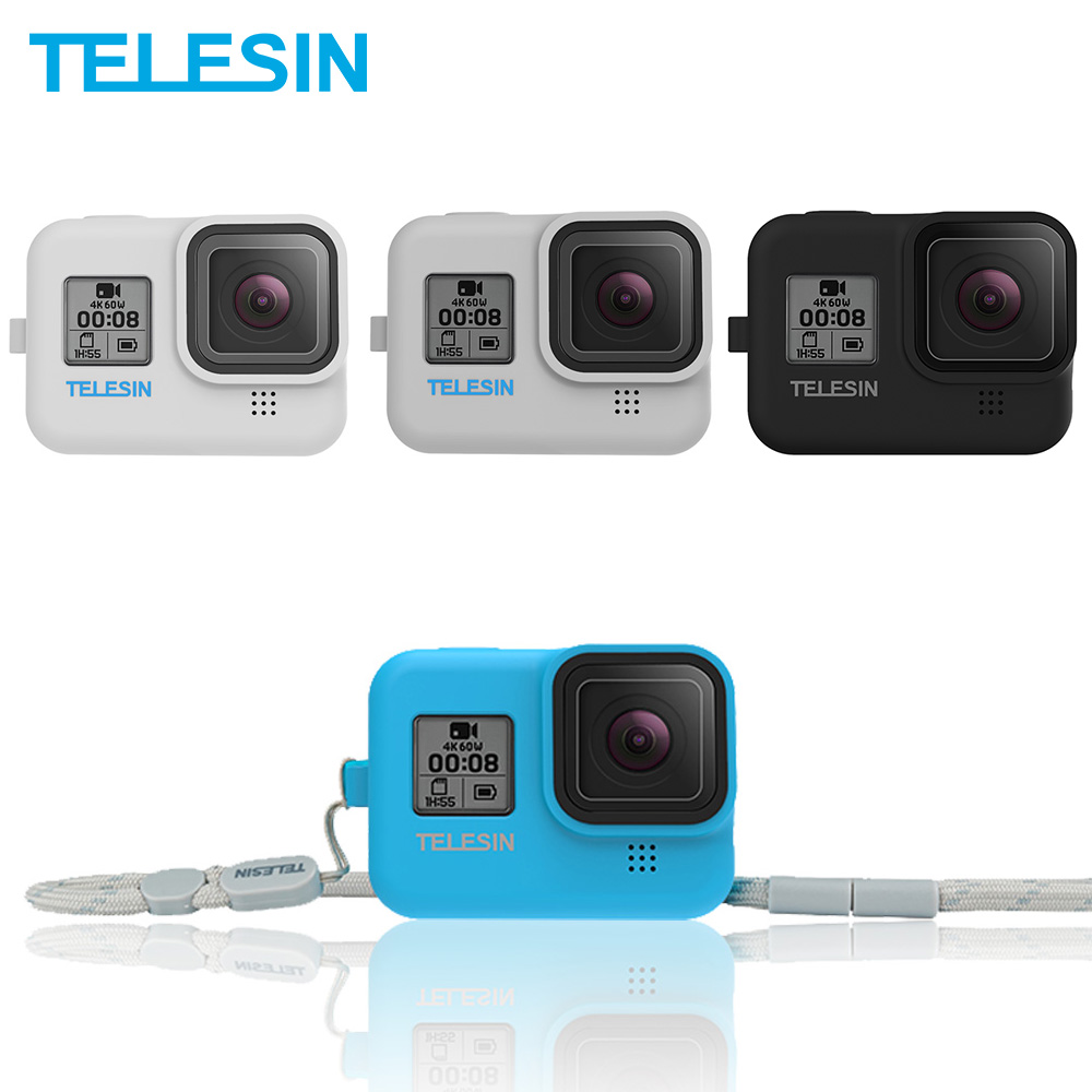 TELESIN Soft Silicone Case Housing Cover Blue White Gray With Adjustable Handle Wrist Strap For GoPro Hero 8 Camera Accessories
