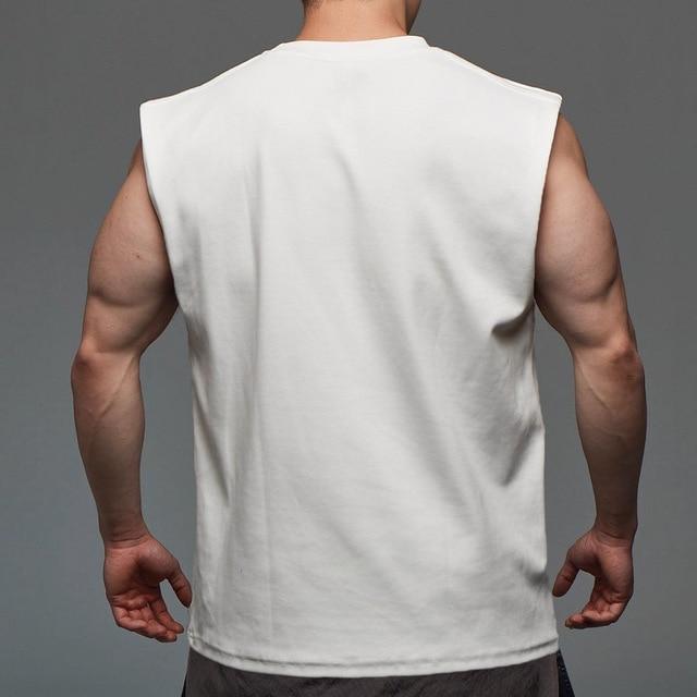 Men Tank Top Broad Shoulder Vest Casual Loose  Mens Crop Top Workout  Exercise Clothing Sleeveless Shirt 3