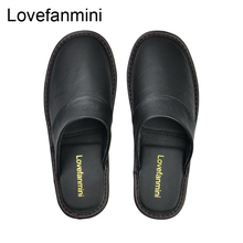 Genuine Cow Leather slippers couple indoor non slip men women home fashion casual single shoes TPR soft soles spring  autum 519