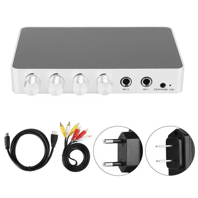 mixer audio 4K Mini HD Karaoke Sound Mixer Dual Microphone Input Volume Adjustment for Stage KTV Room mesa de mezclas de sonido