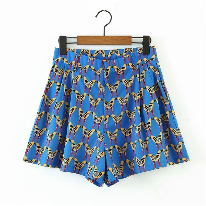women casual beach style wild bird print za blue shorts 2020 summer chic lady fashion high waist zipper loose short pants suit