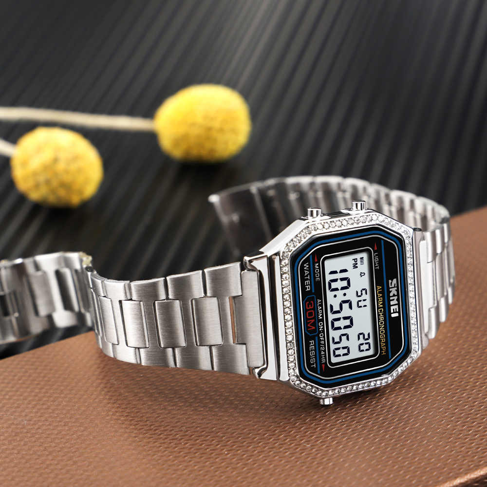 SKMEI üst marka kadın elektronik kol saati Chrono arka ışık kadın spor saatler bayanlar dijital saat Relogio Feminino 1474