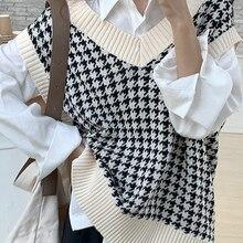 Knitted Sweater Tops Pullover Waistcoat V-Neck Vest Women Oversized Plaid Vintage Sllsky