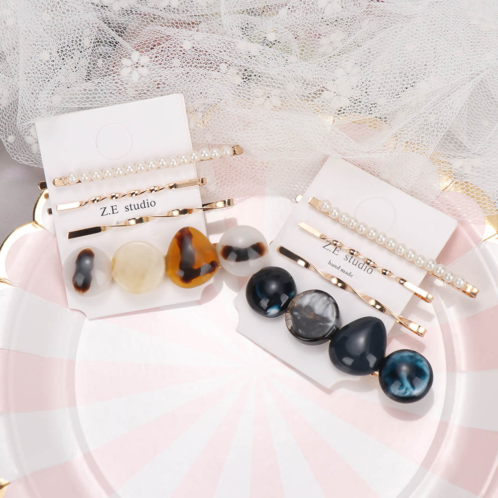 2Pcs/set Fashion Hair Clip Korea Style Women Hair Accessories Candy Color Pearl Hair Pins Sweet Headwear Girls Barrette