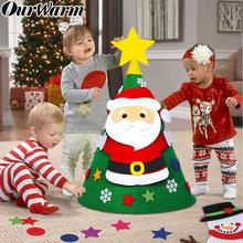 OurWarm 3D DIY Toddler Felt Christmas Tree with Snowman Santa Clause Ornaments Kids Gifts Toys New Year Xmas Party Decoration