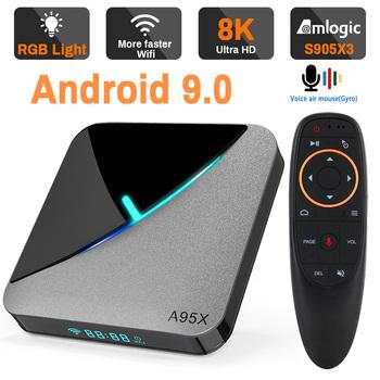 Transpeed Amlogic S905X3 Android 9 0 TV pudełko 4K 8K Google Voice Assistant Dual Wifi 3D Youtube bardzo szybki BOX Top Box tanie i dobre opinie 100 M CN (pochodzenie) Amlogic S905X3 Cortex-A55 64 GB eMMC HDMI 2 0 Android TV 4G DDR3 A95X Air 0 35 DC 5 V 2A Karty TF Do 32 GB