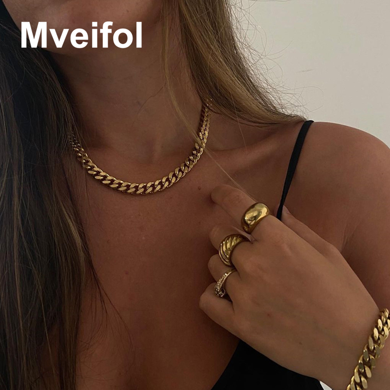 3mm/5mm/7mm Hip Hop Curb Cuban Link Chain Choker Necklace for Women Men Punk Stainless Steel Chains Punk Jewelry