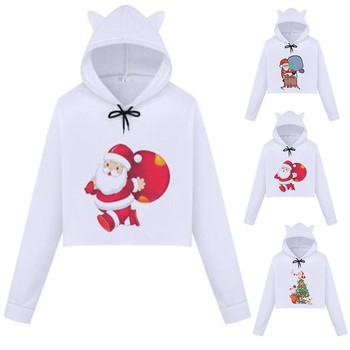 Sexy office work Women's Christmas Snow Printed Cat Ear Hooded Sweatshirt Blouse Tops clothes Leisure style 2019 Winter Sale