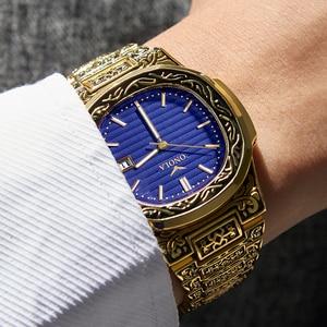 Image 2 - אופנה קוורץ שעון גברים מותג ONOLA יוקרה רטרו זהב נירוסטה גברים שעון זהב mens שעון reloj hombre