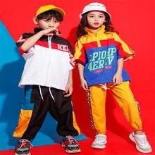 Jazz Hip Hop Costume Girl Hip Hop Kids Loose Short Sleeve Jacket Tops Jogger Pants Hat Street Dance Clothing kids Hiphop Outfit