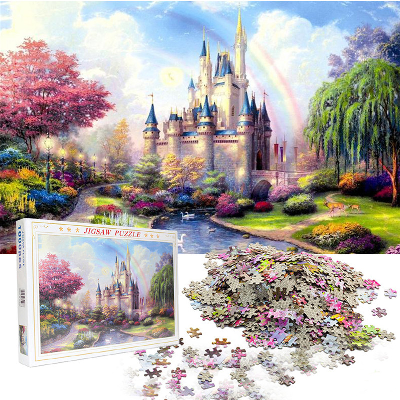 Jigsaw Puzzles 1000 Pcs Paper Picture Landscape Puzzles Toys For Adults Children Kids Games Indoor Relaxing Educational Toys