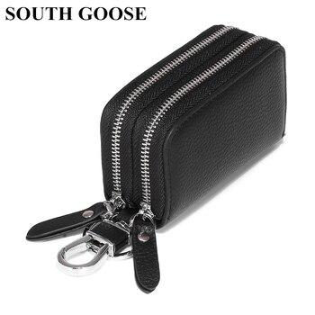 SOUTH GOOSE Genuine Leather Key Wallets Unisex Key Bag Men Car Key Holders Double Zipper Keychain Case Women Smart Housekeeper
