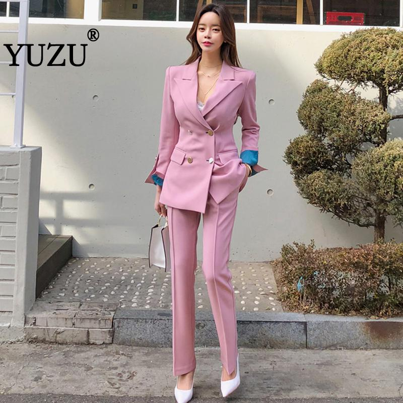 Women Suits Pink Green Office Pant Suits For Women Double Breasted Turn-down Collar Blazer Ol Style Woman Two Piece Suit