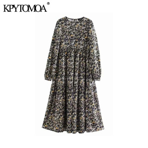Vintage Elegant Floral Print Pleated Midi Dress Women 2020 Fashion O Neck Long Sleeve Female Dresses Casual Vestidos Mujer